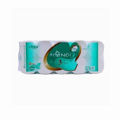 Giấy vệ sinh Hà Nội 10 cuộn , 3 lớp , không lõi màu xanh